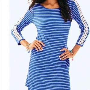 Lilly Marlowe Beckon Blue Stripe Lace Dress